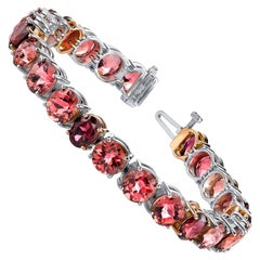 Checkerboard Oval Pink Tourmaline and Garnet Rose, White Gold Tennis Bracelet