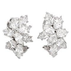 Tiffany & Co. Diamond Platinum Designer Clip on Earrings