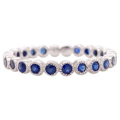 Sapphire Eternity Band, White Gold Bezel Set Infinity Band, Sapphire Ring