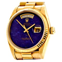 Rolex President Vintage Lapis Dial Gold Day-Date Watch Ref 18038