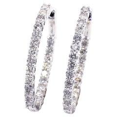 14 Karat 2.30 Carat Diamond Inside Outside Hoop Earrings