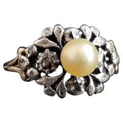 Antique Georgian Pearl and Diamond Ring, 18 Karat Gold and Silver, Conversion