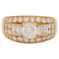 Estate Bulgari White Diamond Ring in 18k Yellow Gold