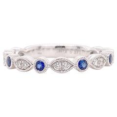 Diamond Sapphire Band, White Gold Wedding Ring, Stackable Anniversary Wedding