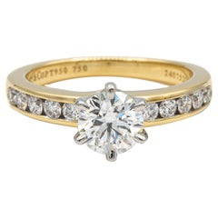 Tiffany & Co. Round Diamond Engagement Ring Channel Set 1.29 Cts. 18K Yellow PLT