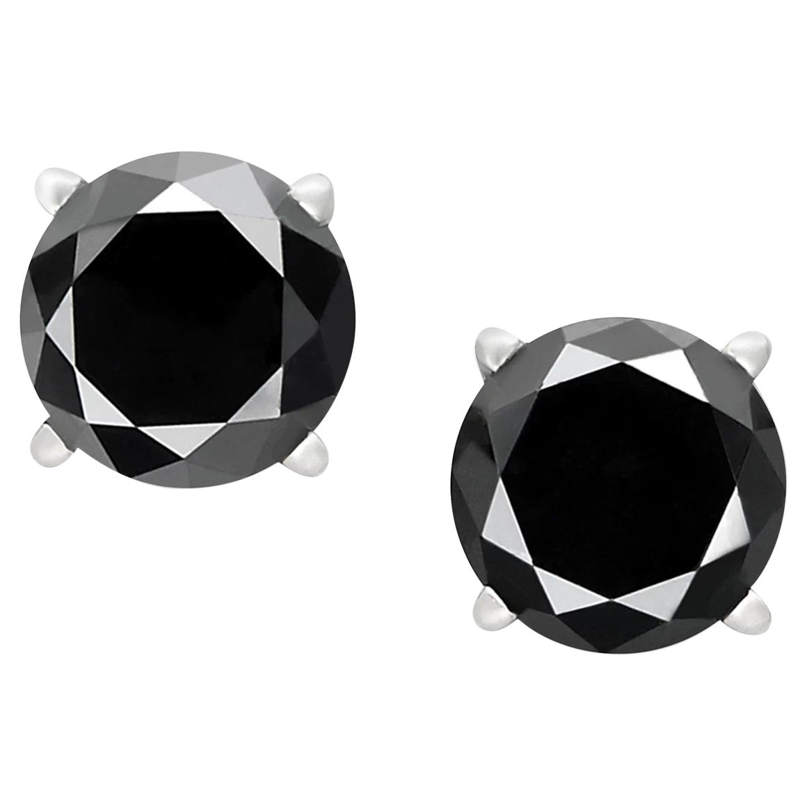 0.8 Carat Total Round Black Diamond Solitaire Stud Earrings in 14 K White Gold