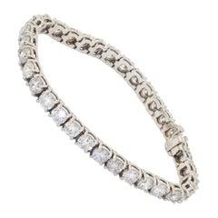 18K White Gold 16.50ct Diamond Tennis Line Bracelet w/ 0.50ct Diamonds