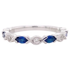 Diamond Sapphire Band, White Gold Wedding Ring, Marquise Sapphires .85 Carats