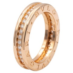 Bvlgari B-Zero1 18K Rose Gold Diamond Pave Band Ring 0.48 Cts