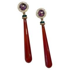 Art Deco Style 18 Karat Gold 0,40 Karat White Diamonds Carnelian Dangle Earrings