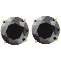 0.8 Carat Total Round Black Diamond Solitaire Stud Earrings in 14 K Yellow Gold