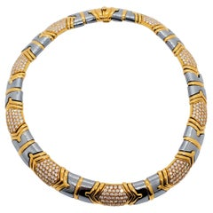 Estate Bulgari Parentesi Hematite and Diamond Necklace in 18k Yellow Gold