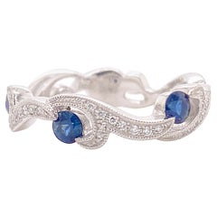 Diamond Sapphire Band, White Gold Wedding Ring, Swirled Design, 3/4 Eternity
