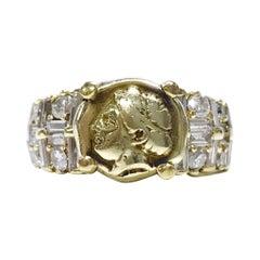 14 Karat Demeter Diamond Coin Ring