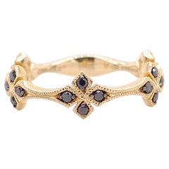 Sapphire Band, Yellow Gold Contemporary Ring, Clover Wedding Ring, Vintage