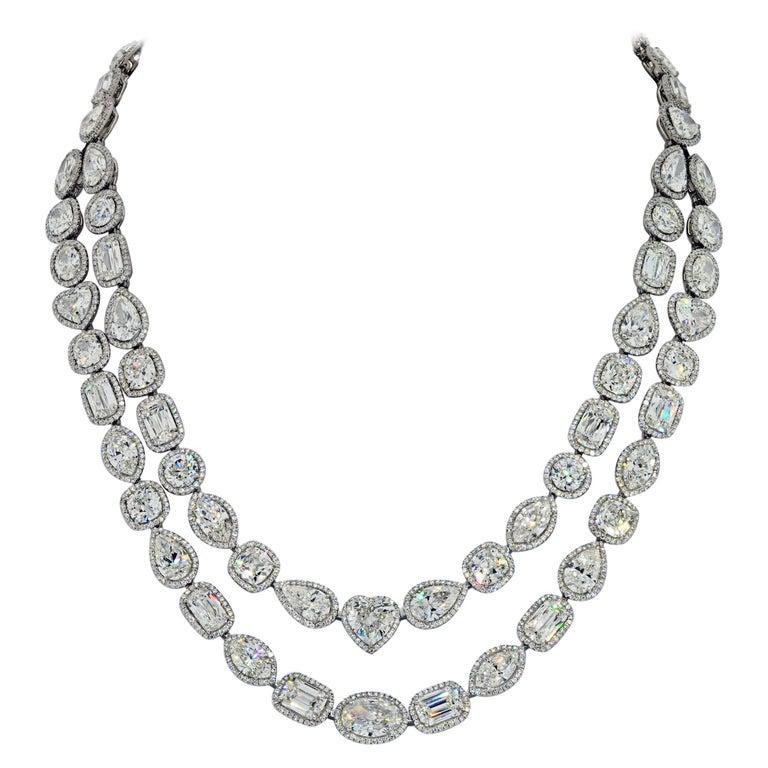 William Goldberg 63 Carat Spectacular Diamond Infinity Necklace For Sale
