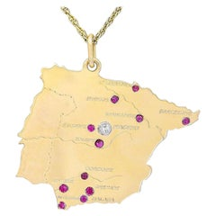 Gold Gemset Map of Spain Charm