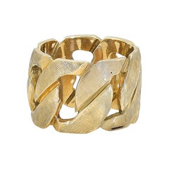 Wide Gold Link Band