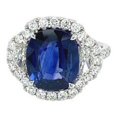 5.07 Carat Cushion Ceylon Sapphire & Diamond Ring in 18 Karat White Gold