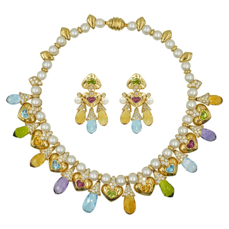Moussaieff Pearl, Damond and Gemstone Necklace and Earring Set in 18k For Sale