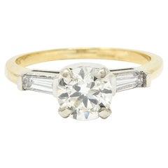 1950's Mid-Century 1.11 Carats Diamond 14 Karat Two-Tone Engagement Ring GIA