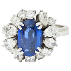 Vintage No Heat Burma Sapphire Diamond Platinum Cluster Ring AGL