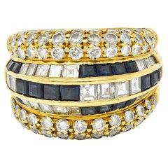 Tiffany & Co. 7.22 Carats Sapphire Diamond 18 Karat Gold Band Ring 1980's