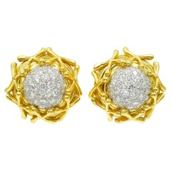 Tiffany & Co. Jean Shlumberger Diamond Clip on Earrings in 18k Yellow Gold