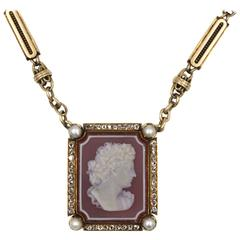Antique Cameo Diamond Gold Pendant and Old Watch Chain
