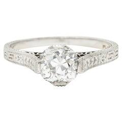 Art Deco 1.15 Carats Diamond Platinum Greek Key Solitaire Engagement Ring