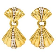 Van Cleef & Arpels 1.50 CTW Diamond 18 Karat Gold Vintage Drop Ear-Clip Earrings