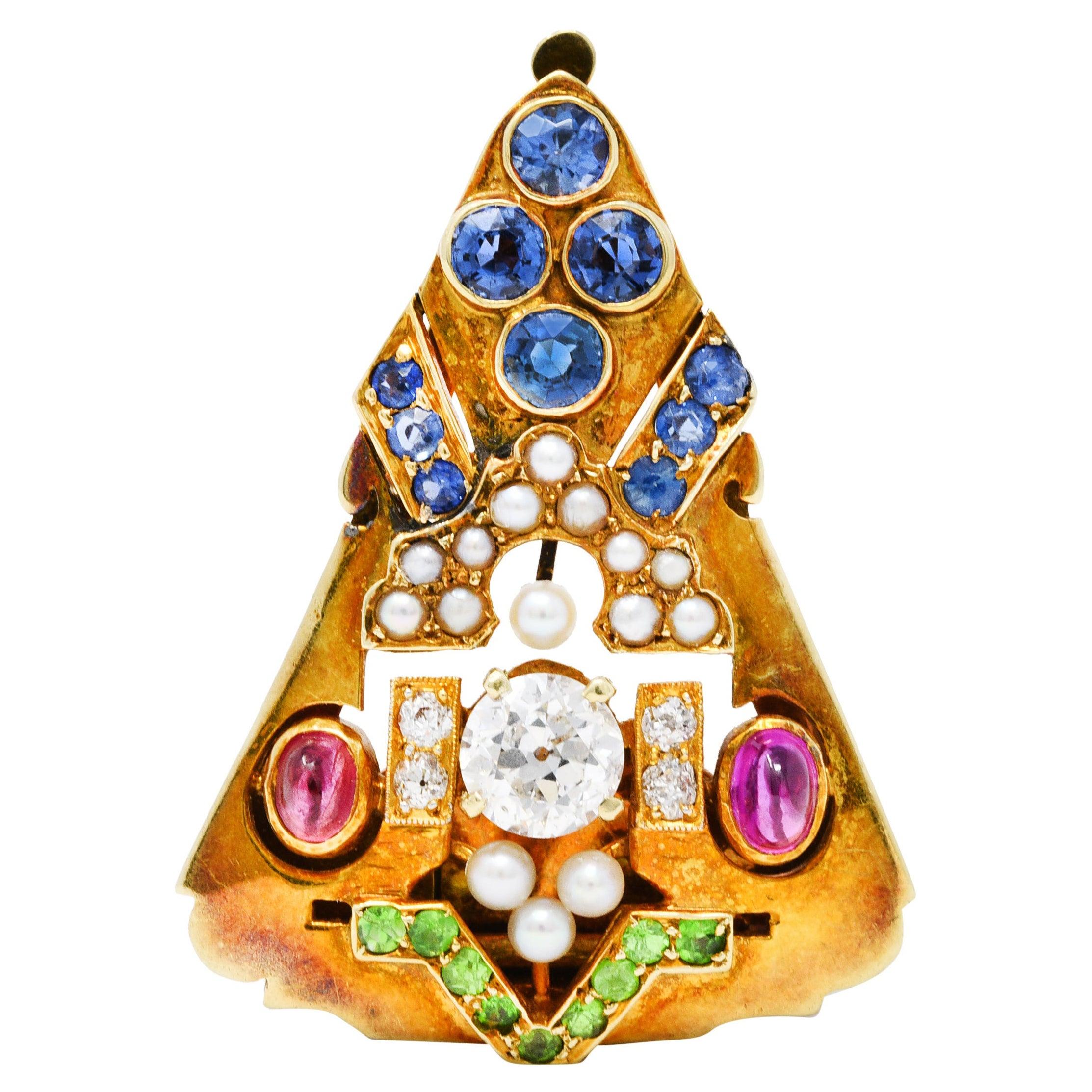 Art Deco Diamond Sapphire Ruby Pearl 14 Karat Gold Brooch Clip
