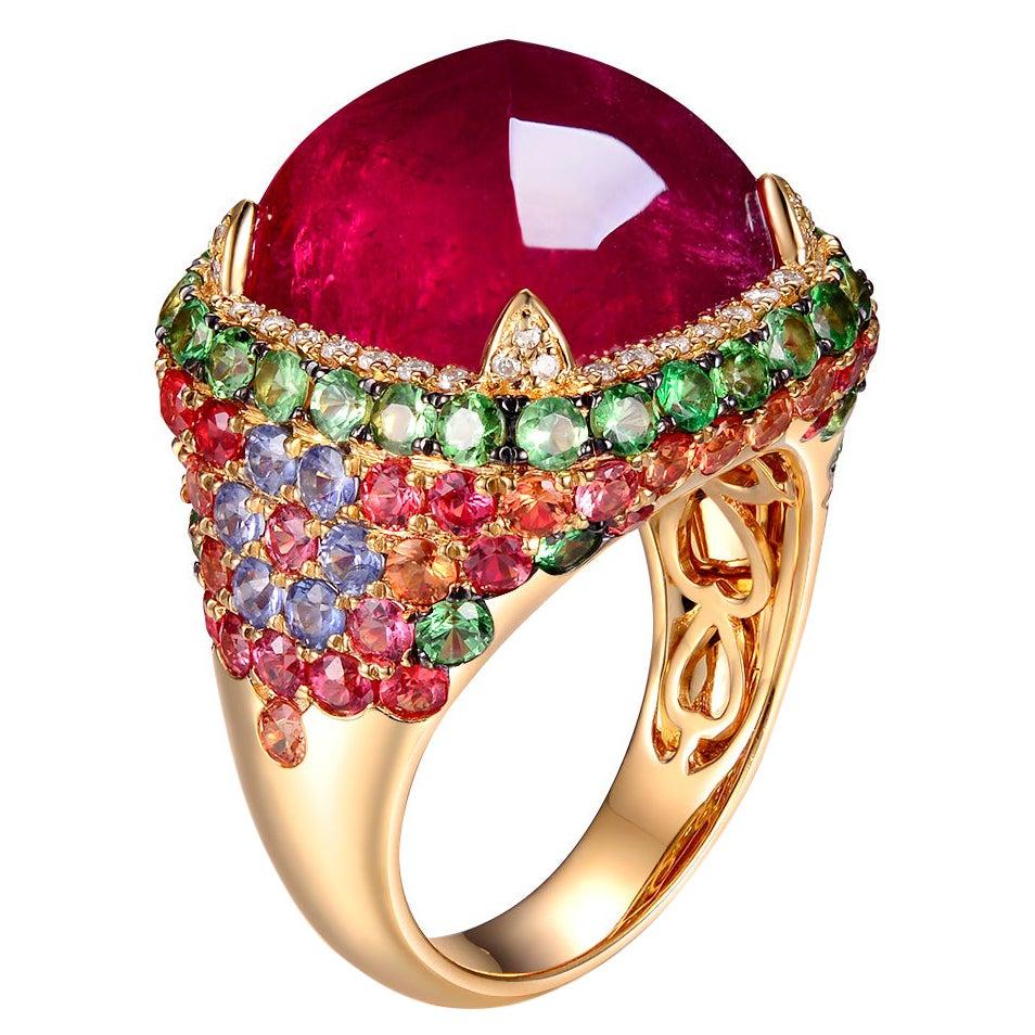 Sugarloaf Rubellite Fancy Sapphire Diamond Dome Ring