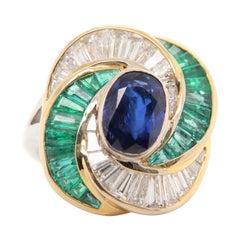 Gubelin 3 Carat No Heat Burmese Blue Sapphire and Diamond 18 Karat Gold Ring