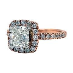 1.22ct GIA Certified 14K Rose Gold Cushion Cut SI1 Engagement Halo Diamond Ring