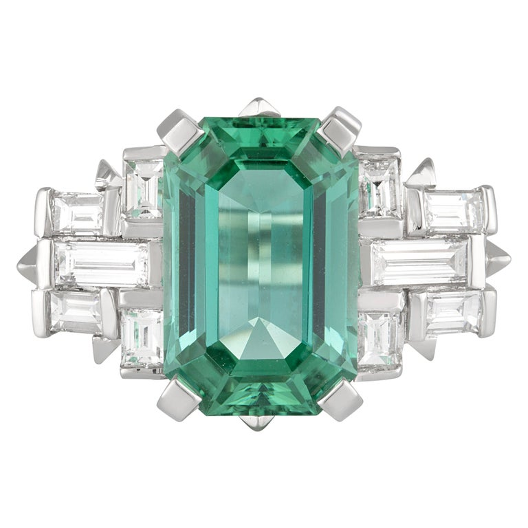 Handmade White Gold Mint Tourmaline and Baguette Diamond Geometric Ring For Sale