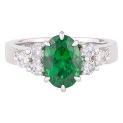 Handmade 18ct White Gold Oval Tsavorite Garnet Diamond Art Deco Style Dress Ring