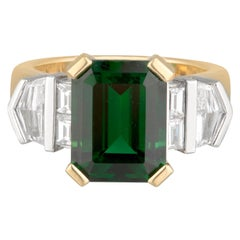 Handmade 18ct Gold Chrome Tourmaline & Diamond Geometric Art Deco Ring