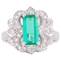 Handmade 18ct White Gold Natural Emerald and Diamond Art Deco Style Dress Ring