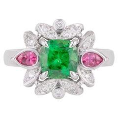 Handmade 18ct White Gold Tsavorite Garnet, Spinel & Diamond Art Deco Dress Ring
