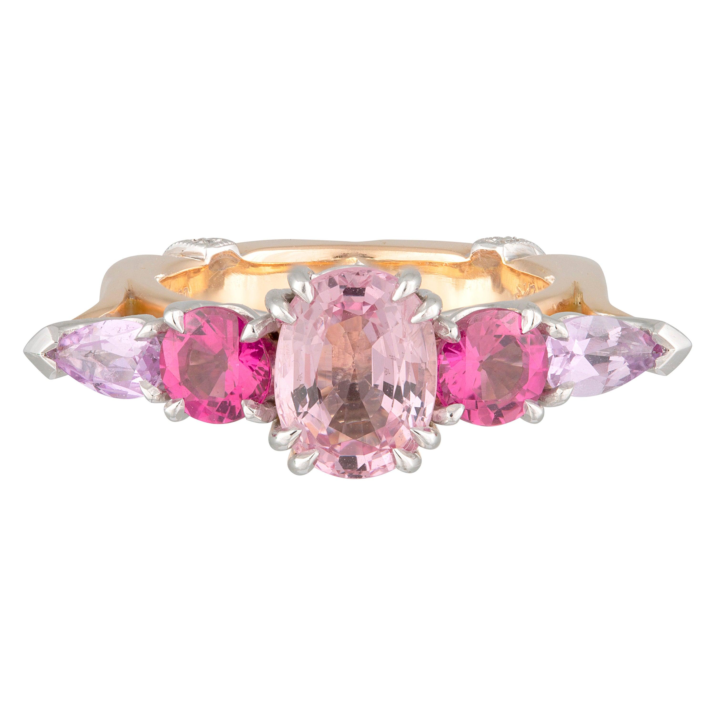 Handmade 18ct Rose/White Gold Spinel, Tourmaline, Sapphire & Diamond Gatsby Ring