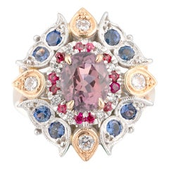 Oval Morganite, Purple and Blue Sapphire, Pink Spinels and Diamond Dress Ring