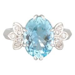 Handmade White Gold Oval Aquamarine and Diamond Wings Ring