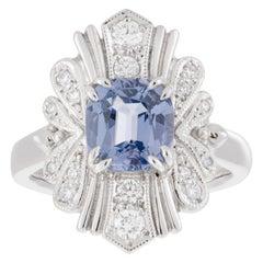 Platinum Cushion Cut Blue 2.23ct Spinel Art Deco Style Diamond Halo Ring
