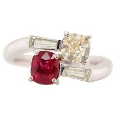 GRS Certified 1 Carat Burmese Pigeon Blood Ruby and Diamond 18K Gold Ring