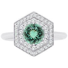 18K Gold Round Cut Emerald Engagement Ring