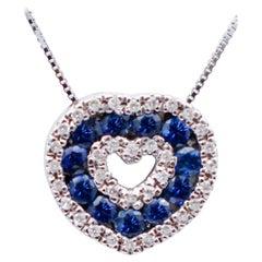 Blue Sapphires, Diamonds, 18 Karat White Gold Heart Shape Pendant Necklace