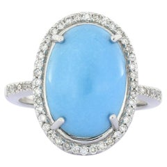 8.92 Carat Turquoise Diamond Cocktail Ring in White Gold