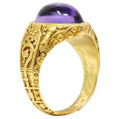 Antique Tiffany & Co. Amethyst Cabochon 18 Karat Gold Bishop Ecclesiastical Ring