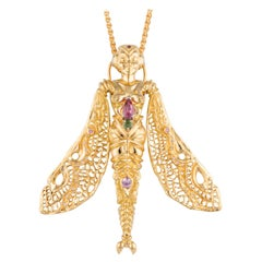 Handmade Yellow Gold Dragonfly Lady Pendant and Brooch